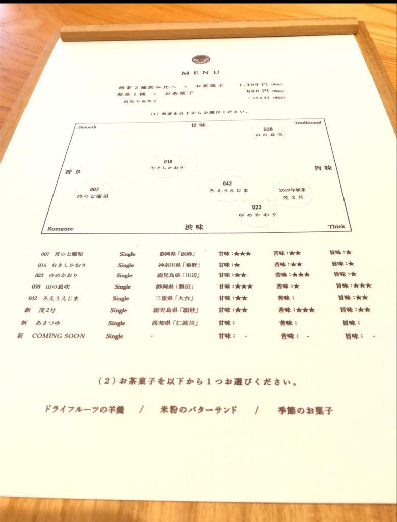 東京茶寮のメニュー